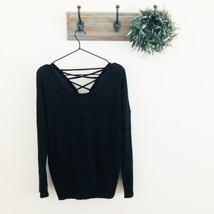 NWT Chaser Black Tie Back Sweater M